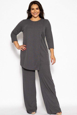 My Bargain Boutique Charcoal / XL Pleated 2 Piece Set