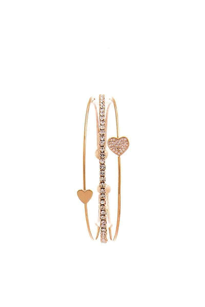 My Bargain Boutique Chic Fashion Triple Layer Heart Bracelet