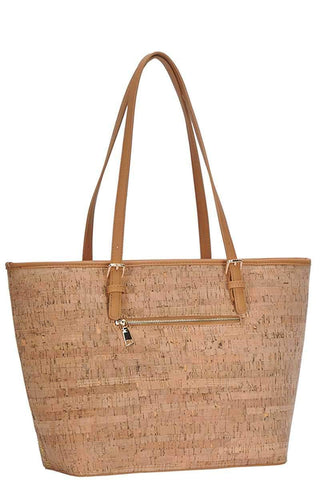 My Bargain Boutique Chic Trendy Cork Textured Fashion Pattern Shopper Bag