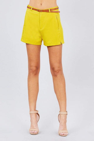 Image of My Bargain Boutique Citrus Mustard / S Front Slit Hem W/pocket And Belt Short Pants