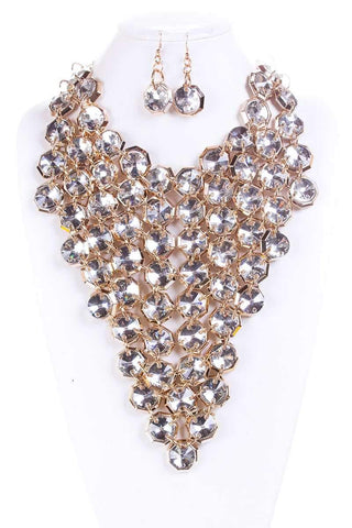 Image of My Bargain Boutique Clear Fancy Stone Choker Necklace And Earring Set