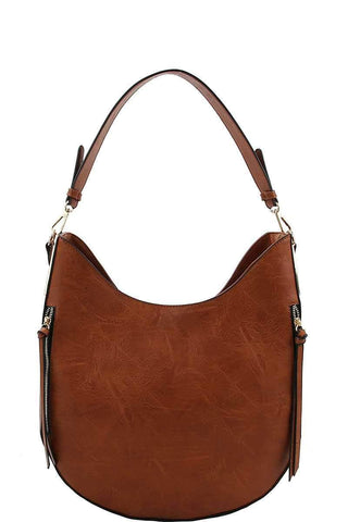 My Bargain Boutique Cognac Fashion Chic Trendy Hobo Bag With Long Strap
