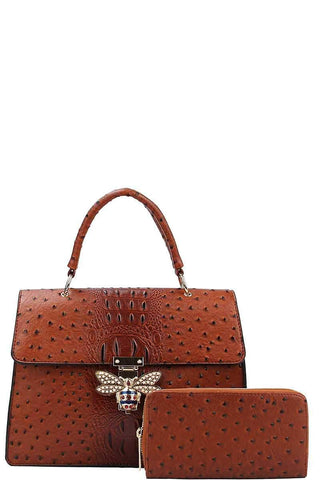 My Bargain Boutique Cognac Stylish Insect Buckle Satchel With Matching Wallet