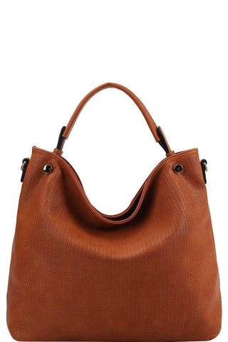 My Bargain Boutique Cognac Stylish Modern Mesh Front Hobo Bag With Long Strap