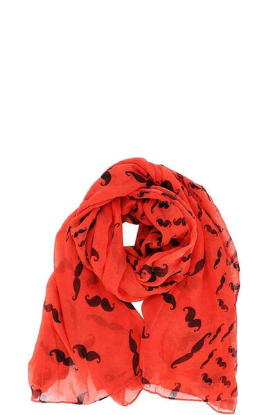 Designer Chiffon Mustache Print Scarf - My Bargain Boutique - Affordable Women's Clothing