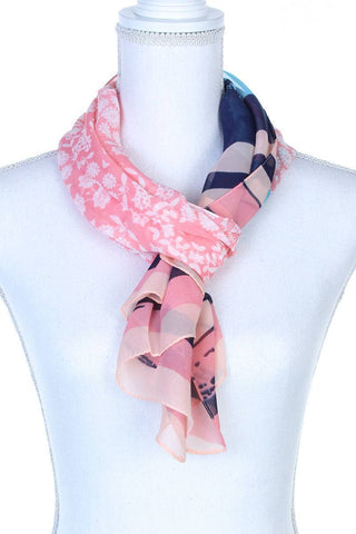 My Bargain Boutique Coral Sheer Color Block Oblong Scarf