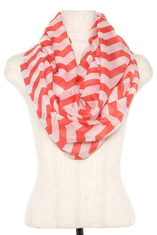 My Bargain Boutique Coral Striped Infinity Scarf