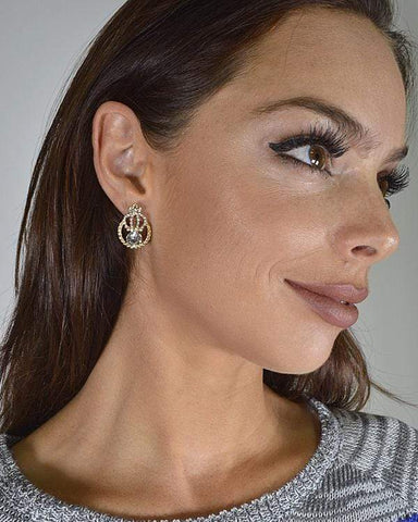 My Bargain Boutique Crystal and Stone Studded Tear Drop Shaped Earrings