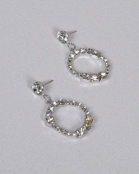 My Bargain Boutique Crystal Inset Rhinestone Studded Circular Drop Earring