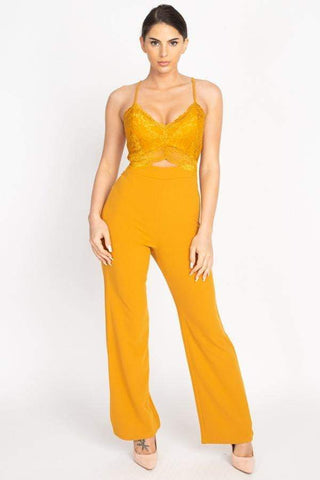 Image of My Bargain Boutique Dark Mustard / S Lace Front Cutout Jumpsuit
