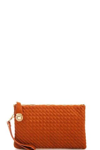 My Bargain Boutique Dark Tan Woven Clutch Crossbody Bag With Two Straps