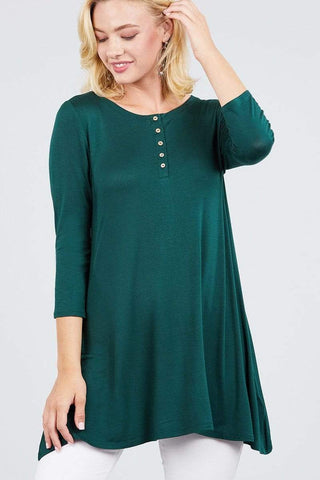 My Bargain Boutique Deep Green / S Placket Top
