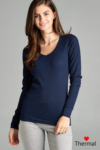 My Bargain Boutique Deep Navy / S V-neck Thermal Top
