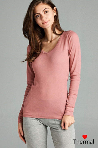 My Bargain Boutique Dust Pink / S V-neck Thermal Top