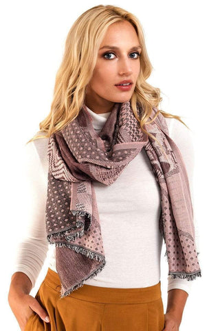 My Bargain Boutique Dusty Pink Mixed Pattern Mosaic Scarf