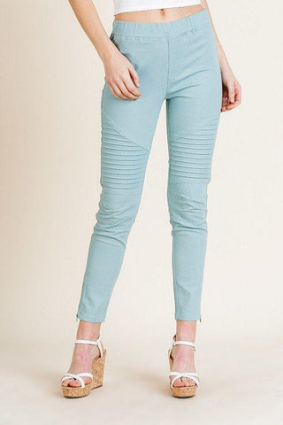 My Bargain Boutique Dusty Sky / S High Waist Skinny Moto Pant