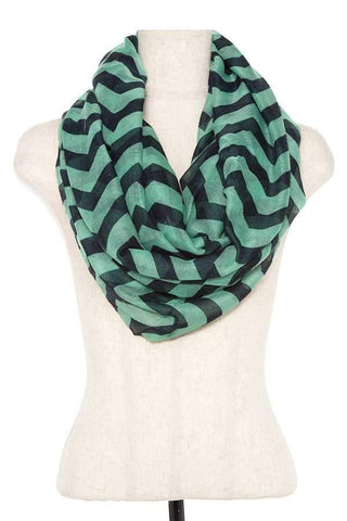 My Bargain Boutique Emerald Striped Infinity Scarf