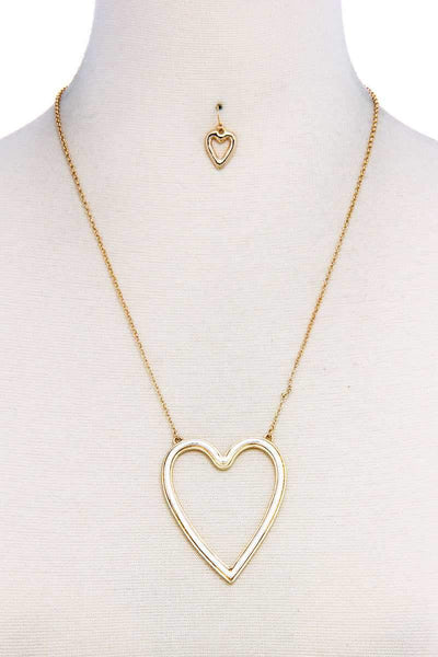 Fashion Big Heart Necklace And Earring Set - My Bargain Boutique - Affordable Women's Clothing