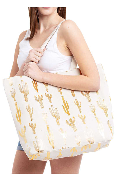 Fashion Golden Foil Cactus Print Canvas Shopper Bag - My Bargain Boutique - Affordable Women's Clothing
