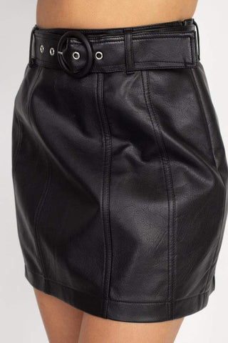 Image of My Bargain Boutique Faux Leather Belted Mini Skirt
