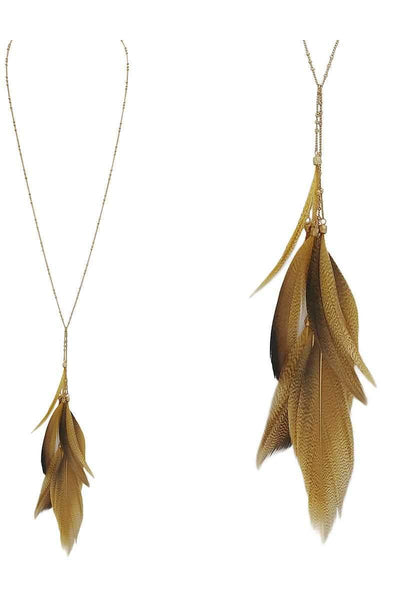 My Bargain Boutique Feather pendant y shape necklace