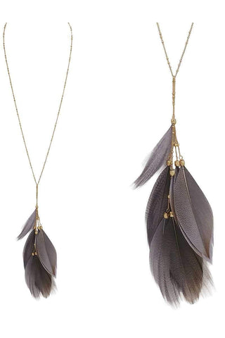 Image of My Bargain Boutique Feather pendant y shape necklace