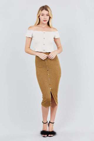Image of My Bargain Boutique Front Button Down Detail Tow Tone Knit Midi Skirts