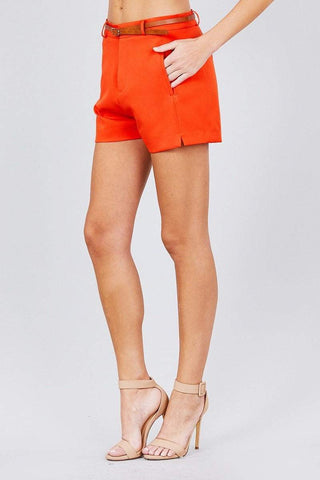 Image of My Bargain Boutique Front Slit Hem W/pocket And Belt Short Pants