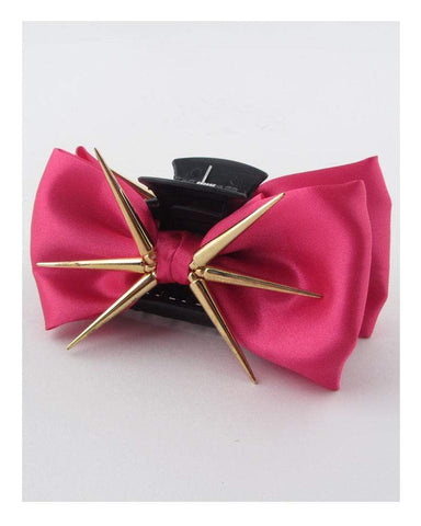 My Bargain Boutique Fuchsia Bow Hair Jaw Clip w/Decorative Spikes