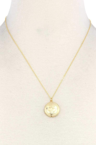My Bargain Boutique Gold Circle Locket Metal Necklace