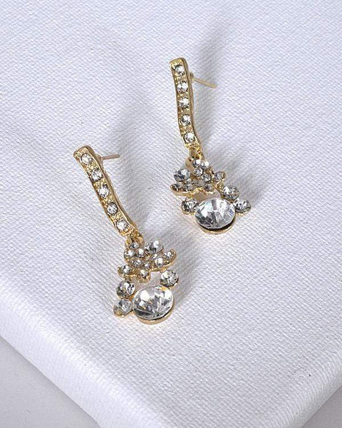 My Bargain Boutique Gold Crystal and Stone Drop Earrings