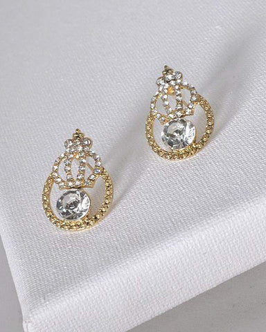 My Bargain Boutique Gold Crystal and Stone Studded Tear Drop Shaped Earrings