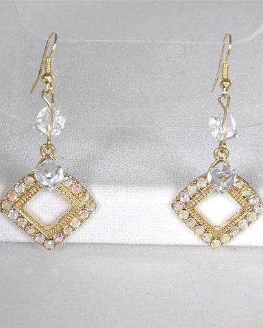 My Bargain Boutique Gold Crystal Studded Rhombus Shaped Earrings with Fishhook