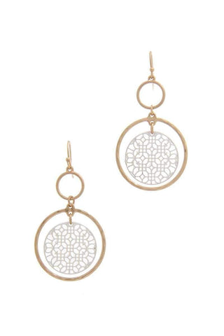 My Bargain Boutique Gold Double Circle Drop Earring