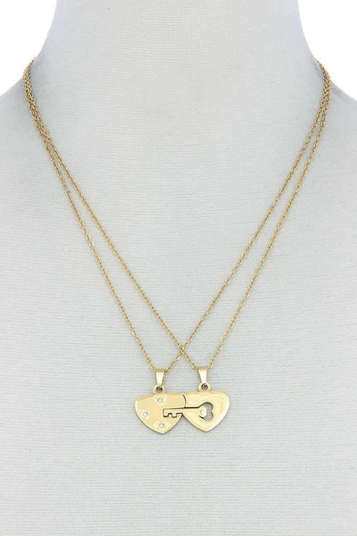 My Bargain Boutique Gold Double Heart Key Necklace Set