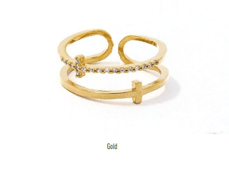 My Bargain Boutique Gold Fashion Cross Infinity Rhinestone Ring