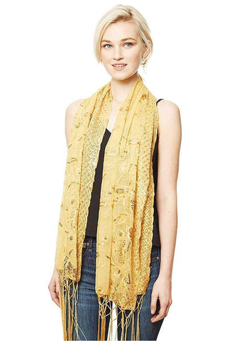 My Bargain Boutique Gold Flower Embroidery Party Shawl Scarf