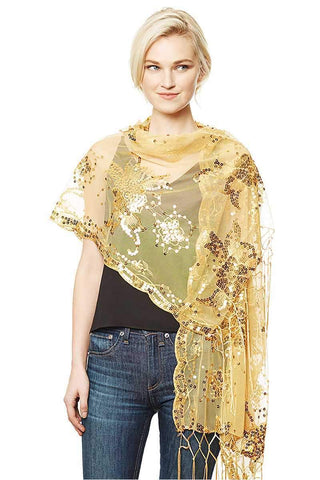My Bargain Boutique Gold Flower Sequin Party Shawl Scarf