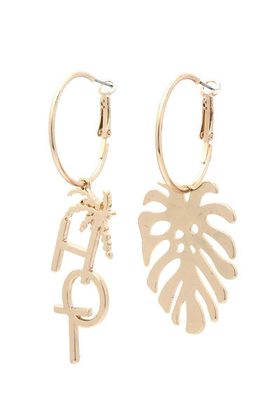 My Bargain Boutique Gold Hot Tropical Leaf Drop Earring