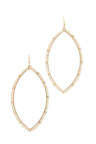 My Bargain Boutique Gold/Ivory Two Tone Beaded Pointed Oval Drop Earring