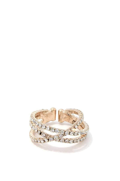 My Bargain Boutique Gold Loop Rhinestone Ring