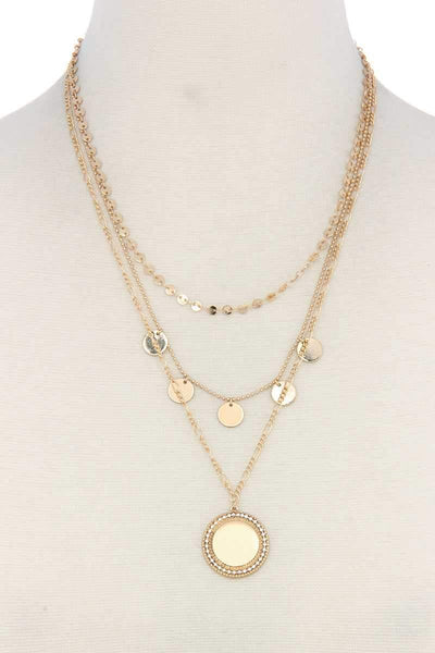 My Bargain Boutique Gold Metal Circle Charm Multi Layered Necklace