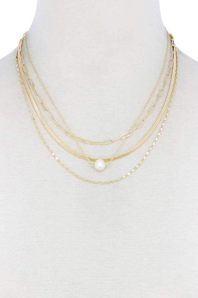 Pearl Bead Snake Chain Layered Necklace - My Bargain Boutique - Affordable Women's Clothing