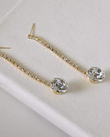 My Bargain Boutique Gold Rhinestones and Crystal Studded Drop Earrings