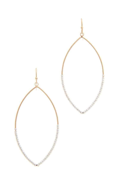 My Bargain Boutique Gold/Silver Beaded Pointed Oval Drop Earring