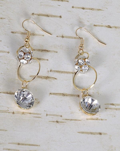 My Bargain Boutique Gold Stone and Crystal Studded Fishhook Drop Earrings