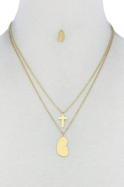 My Bargain Boutique Gold Stylish Double Layer Cross And Mary Necklace And Earring Set