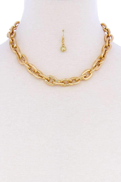 My Bargain Boutique Gold Thick Chain Stylish Necklace And Earring Set