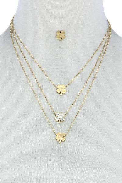 My Bargain Boutique Gold Triple Layer 4 Leaves Clover Necklace And Earring Set