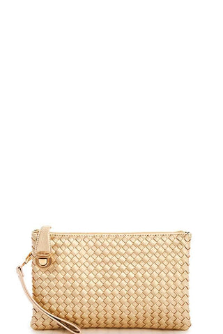My Bargain Boutique Gold Woven Clutch Crossbody Bag With Two Straps
